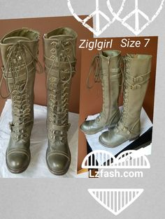 Ziglgirl laced up army green knee high boots with zip on the sides Sz 7M