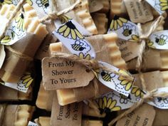 Natural Mommy To Bee Baby Shower Favors  From by bonbonbathhouse, $1.50. Handmade Amish Honey and African Raw Unrefined Shea Butter Soap.  Smells incredible and so cute for a party favor!  Love the honeycomb top.  Only $1.50 each!