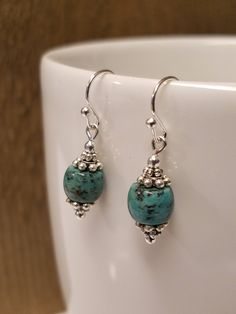 Excited to share the latest addition to my #etsy shop: Genuine African Turquoise Earrings/Silver/December Birthstone Jewelry/Gift for Her/Gift under 15/Turquoise Earrings #earrings #turquoise http://etsy.me/2EFK9Uz