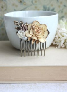 Shabby Antiqued Ivory Gold Rose, Brass Leaf, White, Pearl, Brown Mum Flower Collage Hair Comb. Bridesmaids Gifts. Vintage Ivory Wedding.