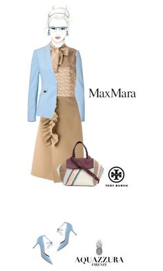 Office outfit: Beige - Light Blue by downtownblues on Polyvore #officewear  #MaxMara  #Aquazzura #ToryBurch #MSGM