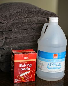 Wash your towels in hot water with one cup of vinegar (only). Wash towels in hot water again with 1/2 cup of baking soda. Throw them in the dryer and enjoy your fresh towels!