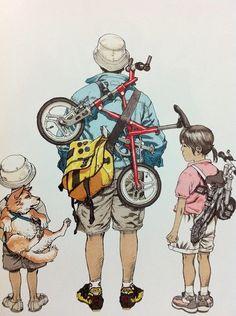 Character Art, Character Design, Katsuhiro Otomo, Bike Illustration, Bicycle Art, Bicycle Sketch, Comic Drawing, Cycling Art, Illustrations And Posters