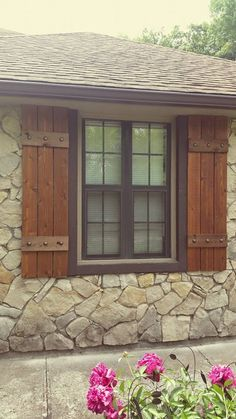 Large handcrafted cedar shutters that add warmth and beauty to your home. We like the shabby rough side of the cedar to give the shutters more of a