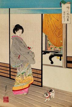 OGATA GEKKO(JAPANESE,1859-1920),watercolor, ink on rice paper.