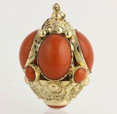 Etruscan Fob Pendant Coral Cabochon 18K Yellow Gold High Karat Ornate Chunky   eBay