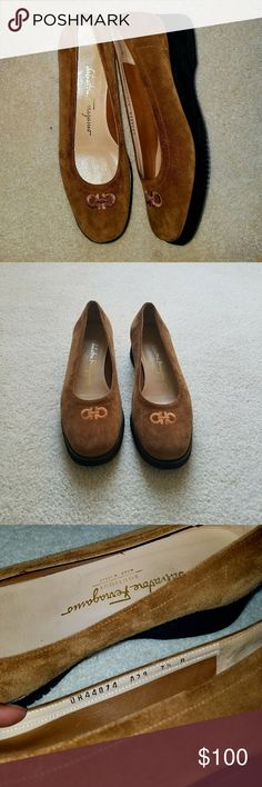 """Salvatore Ferragamo Boutique Sued Flats Better than excellent used condition, No sign of wear other than slight, barely noticible wear marks on the soles.   Tan on trend Ferragamo Boutique shoes would make your 90s inspired outfit """"totally awesome""""!    Brown suede Salvatore Ferragamo Boutique mini flatform  Size 7.5  **Note wear creases on the inside of shoe, where the ball of your foot will go.  ***Note black scuff on left heel picture 4 Salvatore Ferragamo Shoes Flats & Loafers"""