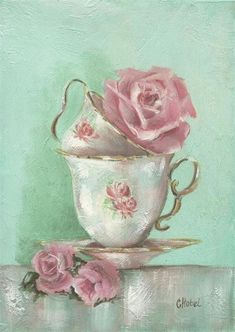 Two Cup Rose Painting Art Print by Chris Hobel - Vieilles cartes - Images Vintage, Vintage Pictures, Vintage Art, Vintage Cups, Tee Kunst, Painting Prints, Art Prints, Painting Art, Pink Painting