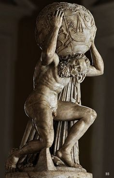 Farnese Atlas holding the Celestial Sphere. 2nd.century B.C. Roman copy after a Greek original. marble.