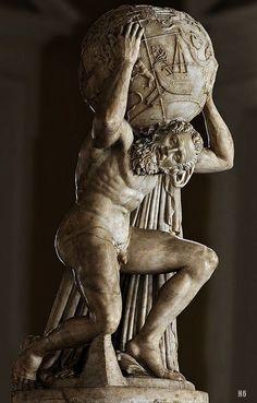 Farnese Atlas holding the Celestial Sphere. 2nd.century B.C. Roman copy after a Greek original. marble.