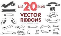 20 vector ribbons 500x300 超かわいい!手書きのフレーム・お花・ライン・矢印・リボンなど無料のベクターイラスト素材いろいろ(AI・EPS・PSD) Free Style