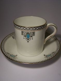 Art Deco English bone china cup saucer
