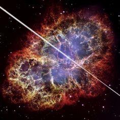ハッブル宇宙望遠鏡(Hubble Space Telescope)が観測した、かに星雲の画像をもとに作成したかにパルサーの想像図(2011年10月6日公開)。(c)AFP/NASA/ESA/David A. Aguilar (CfA) ▼7Oct2011AFP かに星雲のパルサー、予想をはるかに超えるエネルギーを放出 国際研究 http://www.afpbb.com/articles/-/2833085 #Imaginary_picture #Crab_Pulsar