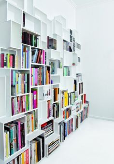 Sectional modular MDF storage wall by Cubit by Mymito #colour #books @Cubit