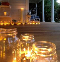 Mason jars and battery-powered tea lights are an easy DIY idea for decorating your front porch for Halloween. It's a great way to welcome people to your home for a party as well. Holidays Halloween, Halloween Crafts, Halloween Decorations, Christmas Decorations, Halloween Porch, Halloween 2015, Halloween Ideas, Victorian Porch, Victorian Halloween