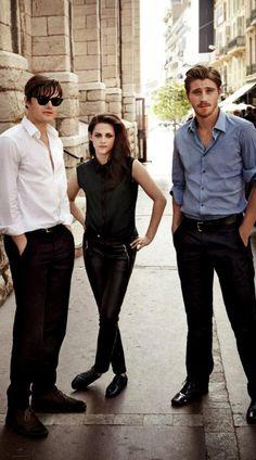 "Kristen Stewart flanked by her ""On The Road"" co-stars Sam Riley and Garrett Hedlund......."