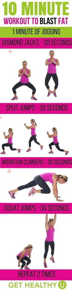 With these high intensity moves, you only need 10 minutes to blast fat! No excuses now with this quick workout you can do at home! #weightlossrecipes #quickcardioathome