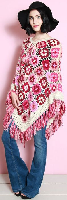 Remember granny-square ponchos like this from the 70s. They're back. Read about one of the latest fashion trends for women - http://www.boomerinas.com/2015/05/04/7-fringe-fashion-trends-for-summer-2015-bags-tops-dresses-shoes-more-its-the-70s-again/