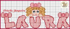Priscila Junqueira Ponto Cruz: Menina Bonita Do Laço de Fita Cross Stitch Alphabet, Cross Stitch Baby, Embroidery Patterns, Cross Stitch Patterns, Special Letters, Crochet Dolls Free Patterns, Drawings, Anime, Hearts