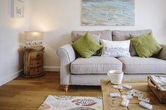 The second living area at 1 The Sands, our self-catering holiday cottage in Polzeath, North Cornwall. This provides the perfect space to enjoy a movie or board game with the family. North Cornwall, Private Garden, New Builds, Sands, Living Area, Catering, Two By Two, Cottage, Couch