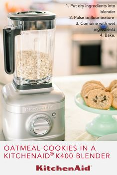 Fuel your culinary passion with the revolutionary KitchenAid Passion Red Variable Speed Blender, product number Blender Recipes, Cooking Recipes, How To Make Flour, Kitchenaid Blender, Jar Design, 1 Egg, Granulated Sugar, Recipe For 4, Oatmeal Cookies