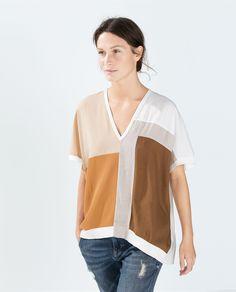 ZARA | COLOR BLOCK T-SHIRT | $59.90 Zara Tops, Zara Shirt, T Shirt, Zara United States, Zara Women, Retail Therapy, Autumn Fashion, Denim, Knit Tops
