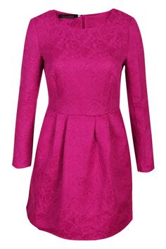 Floral Embossment Pleated Rose Shift Dress