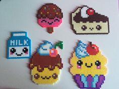 Cute Kawaii Dessert Perler Bead: Milk, Cupcake, Cake, Cakepop