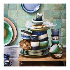 HKliving Ceramic Style Cappuccino Mugs Set Of 4 - Trouva Cappuccino Tassen, Cappuccino Mugs, Ceramic Tableware, Ceramic Bowls, Stoneware, Hand Painted Plates, Decorative Plates, Rustic Dinner Plates, Teller Set