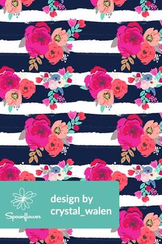 Sweet Pea Floral Stripe by crystal_walen - Bright pink and peach flowers hand painted by indie designer Crystal Walen on fabric, wallpaper, and gift wrap.  Bold dark blue stripes on a white background with beautifully colorful flowers in a playful pattern.  #surfacedesign #design #color #floral #handpainted #artist #designer #fabric #wallpaper #homedecor