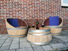 """≥ Loungeset van wijnvat - regentonnen """"succes bewezen....."""" - Tuinmeubelen - Marktplaats.nl"""