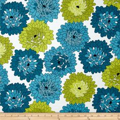 Fresh Bloom Little Blooms Teal/Green from @fabricdotcom  Designed by Michele D'Amore for Benartex, this cotton print is perfect for quilting, apparel and home decor accents. Colors include shades of teal, shades of green, white and black.