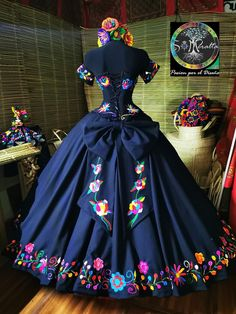 wedding bridal - Sites new Mexican Theme Dresses, Quince Dresses Mexican, Mexican Outfit, Mexican Fashion, Navy Blue Quinceanera Dresses, Mexican Quinceanera Dresses, Quinceanera Cakes, Xv Dresses, Prom Dresses