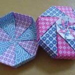 Origami em tecido - caixa presente origami-artesanatobrasil.net