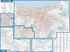 New Orleans WALL Map, Louisiana, America.