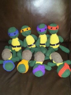2 sets of teenage mutant ninja turtles I crocheted for my boys