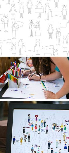Fun Wedding Guest Book Ideas: Draw Yourself Wedding Guest Book from Forever Heyday