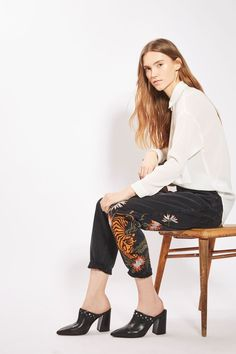 PETITE Tiger Applique Mom Jeans - Jeans - Clothing - Topshop