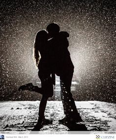 Couple's silhouette in the snow. Links to +15 Stunning Nature Inspired.