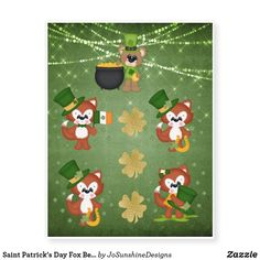 Browse & shop our selection of custom Fox temporary tattoos - Choose your favorite or customize your own at Zazzle! Clover Tattoos, St Patrick's Day Gifts, St Patricks Day, Your Favorite, Saints, Fox, Bear, Christmas Ornaments, Holiday Decor