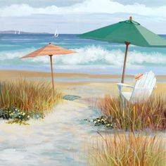 beach scene with umbrellas art print