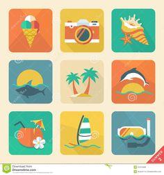 Summer Icon Set 2. Flat Design Trend. Retro Color. Vector Illust Royalty Free Stock Photos - Image: 31610498
