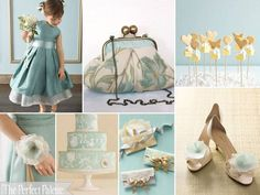 dusty teal meets antique gold ☛ http://www.theperfectpalette.com/2012/02/pretty-party-palette-dusty-teal-dusty.html