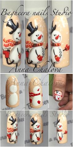 Snowman nail art tutorial. маникюр снеговик