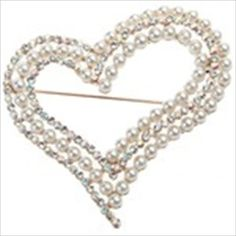 (MARCAS) Exquisite Heart-shaped Metal Brooch Breastpin Ouch with Rhinestones