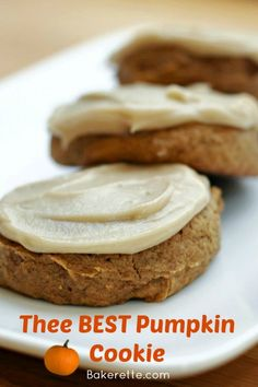These Pumpkin cookies are thee best. They are more like cake than cookie. Their not-too-powerful flavor goes perfectly with the light, sweet penuche glaze.