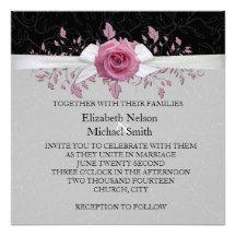 Ribbon Pink Rose Floral Damask Wedding Invite