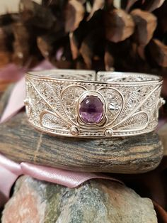 Handcrafted sterling silver filigree and amethyst bracelet. Haute Wired Jewelry Handcrafted sterling silver filigree and amethyst bracelet. Filigree Jewelry, Sterling Silver Filigree, Wire Jewelry, Gemstone Jewelry, Jewelery, Silver Jewelry, Bohemian Jewelry, Modern Jewelry, Handmade Silver