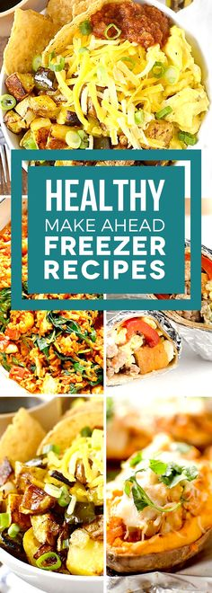What's for dinner? That's an easy question to answer with our favorite healthy make ahead freezer meals! These make ahead recipes are delicious and freeze perfectly for easy meals all week long. From breakfast burritos, to soup, to lasagna and more, these Make Ahead Freezer Meals, Freezer Cooking, Easy Meals, Cheap Meals, Healthy Meals To Freeze, Freezer Dinner, Cooking Pork, Cooking Turkey, Crockpot Meals