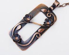 Flower Frame Copper Rectangle Pendant Necklace OOAK
